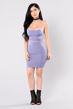 - Available in Black and Lavender - Matching Set - Made in USA - 95% Polyester 5% Spandex Top - Crop Top - Spaghetti Strap - Great Stretch Bottoms - Mini Skirt - Elastic Waist Band