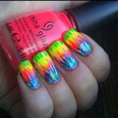 These nails were drawn on with nail pens and nail polish. Rainbow Nails, Neon Nails, Love Nails, Diy Nails, How To Do Nails, Pretty Nails, Crazy Nails, Funky Nails, Rainbow Colors