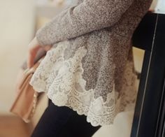 A sweater with an elegant lace trim is the perfect way to stay comfortable and look pretty:)