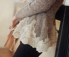 elegant lace trim sweater