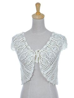 Anna-Kaci S/M Fit Light Off-White Apricot Faux Pearl Detail Crochet Crop Shrug