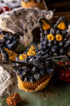 Black Cat Pumpkin Cupcakes: Perfect for a spooky Halloween night...or when you're in need of a deliciously sweet spiced pumpkin cupcake.