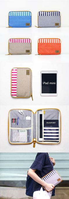 Check out this super cute & handy pattern pouch! You can use this for all kinds of organization and it's perfect for travel too! The inside offers many pockets where you can securely store your travel documents. The right side can store an iPad Mini or other similar tablets too! The front and rear is quite functional as there's a front pocket along with a back zipper pocket for quick storage & access while you are on the go! A larger version of this pouch is also available at mochithings.com...