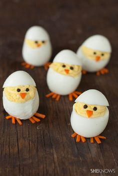 Hatching chick deviled eggs recipe - 15 Joyous Easter Appetizers | GleamItUp