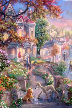 Shared by Naty. Find images and videos about wallpaper, disney and lady and the tramp on We Heart It - the app to get lost in what you love. Thomas Kinkade Disney, Disney Paintings, Disney Artwork, Disney Drawings, Images Disney, Disney Pictures, Disney Mignon, Disney Background, Pinturas Disney