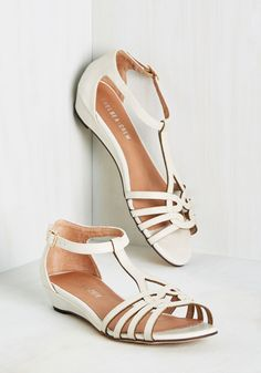 Wanna Prance with Somebody Sandal in Ivory. Feel the heat as you skip down the sunny boardwalk, clad in these ivory sandals by Chelsea Crew. #white #modcloth