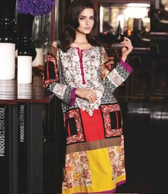 Firdous Embroidered Cambric/Cotton Kurti Collection FF_4B