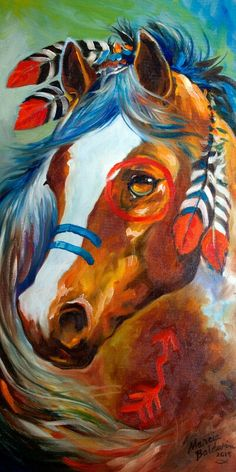 Oil painting of a Indian war horse