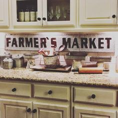 "Metal Farmers Market Sign This is customer favorite in our store!  Aged galvanized embossed metal 60"" x .75"" x 9.25"""