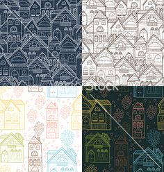 Home background set vector doodle pattern by Tatishdesign on VectorStock®