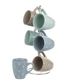 Warm Polka Dot Mug & Stand Set #zulily #zulilyfinds