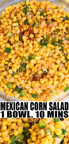 MEXICAN CORN SALAD RECIPE- Best, quick, easy salad with cilantro lime vinaigrette/ dressing, homemade with simple ingredients, in one bowl. Use this fresh, healthy summer salad as an appetizer, topping or side dish. No mayo! Can also add black beans, fritos, creamy Cotija cheese. Serve it warm or cold. From OnePotRecipes.com #salad #corn #sidedish #onepotmeals #onepotrecipes #30minutemeal #30minuterecipes