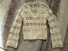 CLAIRE DK_ kremowy sweter ażurkowy wełna cudo_ 40