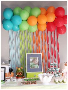 fun balloon streamer backdrop