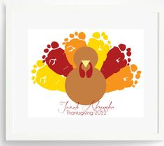 "Create a Thanksgiving Keepsake Gift for Mom or Grandma: 8.5"" x 11"" Personalized Thanksgiving Turkey Footprint Art Print by Pitter Patter Pr..."