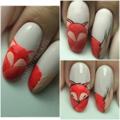 Newest Pics Fall Nail Art fox Concepts Give golden glitters a fall-perfect bring up to date through an uber quite fall leaf in shiny red ge Autumn Nails, Fall Nail Art, Fox Nails, Nail Drawing, Animal Nail Art, Nail Art Blog, Thanksgiving Nails, Manicure E Pedicure, Fall Nail Designs