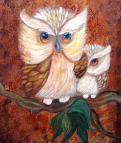 two white owls by Pauline Libutti