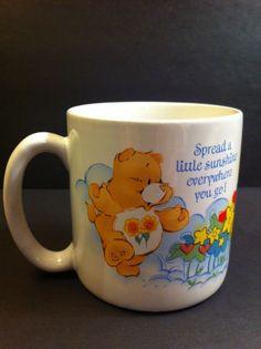 1984+Care+Bears+American+Greetings+Vintage+Coffee+Tea+Mug+(Sunshine+Bear)+