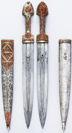 Transcaucasian (Georgian) qama, 19th century, steel, silver, coral, gold, L. with sheath 24 1/8 in. (61.3 cm); L. without sheath 23 1/16 in. (58.6 cm); W. 2 1/4 in. (5.7 cm); Wt. 18.2 oz. (516 g); Wt. of sheath 8.8 oz. (249.5 g), Met Museum, Bequest of George C. Stone, 1935.