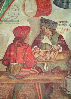 c.1495 Interior of an Inn, detail of backgammon players (fresco), Castello di Issogne, Val d'Aosta, north west Italy.