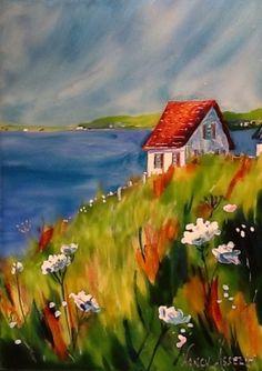 Landscape paintings acrylic farm New Ideas Watercolor Landscape, Landscape Art, Landscape Paintings, Watercolor Paintings, Cottage Art, Naive Art, Whimsical Art, Acrylic Art, Painting Inspiration