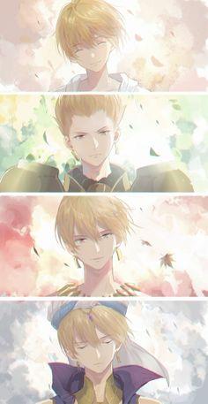 Four stages of Gil Gilgamesh Fate, Gilgamesh Anime, Gilgamesh And Enkidu, Anime Guys, Manga Anime, Anime Art, Fate Zero, Zero Wallpaper, Fate/stay Night