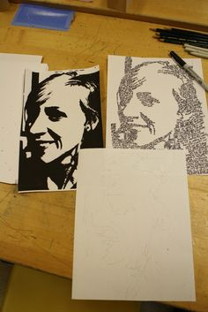 Micrography Portraits. portrait made out of words.  Check out the Mini Mosaic Art