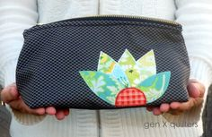 Gen X Quilters - Quilt Inspiration | Quilting Tutorials & Patterns | Connect: Triangular Makeup Pouch with Flower Applique (and a super cool...