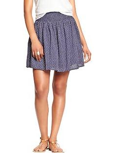 Womens Smocked-Waist Gauze Skirts - I'm definitely on  the taller side, but it is super cute