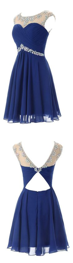 Blue Keyhole Back Short Homecoming Dress. We offer homecoming dresses, dresses for teens, freshman homecoming dress, whether you like short or long dresses, whether you prefer vintage or modest, simple or boho, we have all styles! And also we can make the dresses in any color you like: red, black, maroon, purple, blue, green, burgundy, navy, white…Shop your homecoming dress at #junebridals.com now and save up to 70%!
