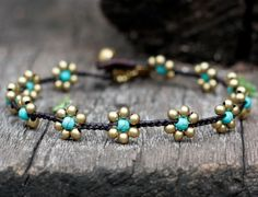 Blue Flower Brass Anklet by brasslady on Etsy. $8.50, via Etsy.