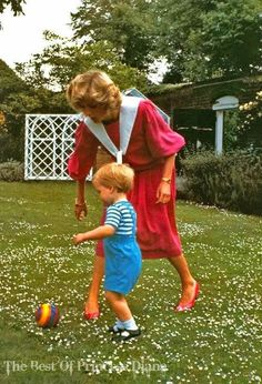 Happy Birthday to Prince William   Princess Diana and Prince William plays in the gardens of Kensington Palace on June 12, 1984 in London, England.