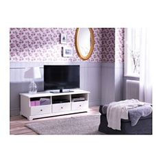 IKEA - LIATORP, TV unit, gray, , Smooth-running drawers with drawer stops to keep them in place.The opening at the back allows you to easily gather and organize all wires.