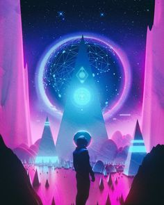 Magic Kingdom by Mike Winkelmann Cyberpunk Aesthetic, Neon Aesthetic, Cyberpunk Art, New Retro Wave, Retro Waves, Arte Dope, No Man's Sky, 3d Video, Imagine Dragons