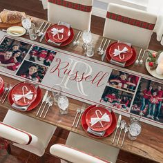 A new way to decorate the table and display favorite family photos too! Great for parties, family events—and everyday meals. Personalized Christmas Gifts, Family Events, Holiday Wishes, Christmas Decorations, Holiday Decor, Table Runners, Create Your Own, Unique Gifts, Gift Wrapping