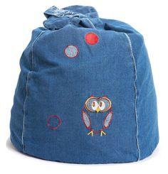 Sleepy Owl Denim Bean Bag  from cocooncouture.com