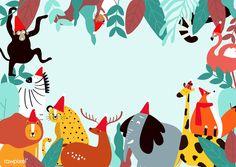 Animals theme template vector illustration | free image by rawpixel.com Free Vector Illustration, Free Illustrations, Safari Party Decorations, Christmas Themes, Christmas Christmas, Backdrops For Parties, Cartoon Kids, Vector Design, Free Design
