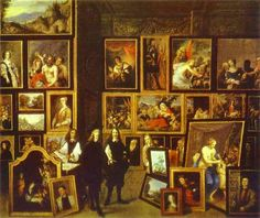 Archiduque Leopoldo Guillermo en su galería de imágenes, con el artista y otras figuras, 1653 - David Teniers el Joven