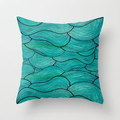 Sea Waves Throw Pillow by Pom Graphic Design  - $20.00