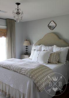 Paint color is Restoration Hardware Pale Silver. Bed is Restoration