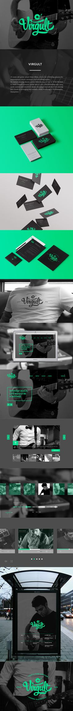 Identity concept for Andrea Martelloni aka Virgult.25-years-old guitar player from Milan, driven by a burning passion for contemporary music, acoustics and everything sound. He started playing electric guitar when he was 13 but at 19 he decided to teach…