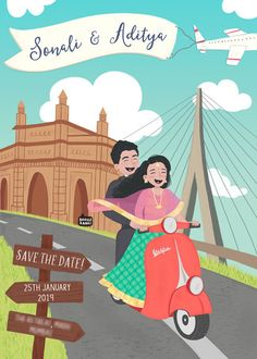 Custom illustrated wedding invitations, unique to each couple, designed by Mithila Ananth Engagement Invitation Cards, Marriage Invitation Card, Indian Wedding Invitation Cards, Wedding Invitation Video, Wedding Invitation Card Design, Creative Wedding Invitations, Invites Wedding, Marriage Cards, Digital Invitations