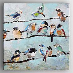 ציפורים ציור שמן על הבד המצויר ביד עם עץ נמתח ממוסגר – ILS ₪ 396.72