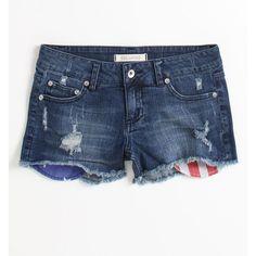 Bullhead Black Americana Pocket Bag Shorts ($31) ❤ liked on Polyvore featuring shorts, torn shorts, ripped shorts, zipper shorts, destroyed shorts and cotton shorts
