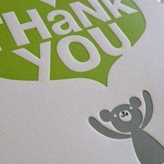 Зеленовато-желтый и серый lettepress поблагодарить Вас карты, отпечатанные на Fugu Fugu Press, скрашивает в любой день.