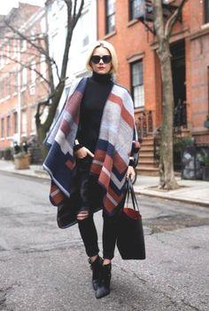 street blanket cape, Blanket ponchos fashion trends http://www.justtrendygirls.com/blanket-ponchos-fashion-trends/