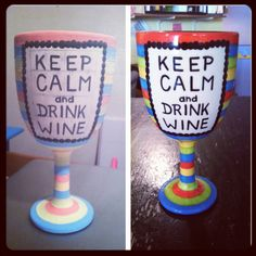 Hand painted ceramic wine glass painted at Paint Your Pot in Cary, NC