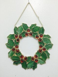Hey, I found this really awesome Etsy listing at https://www.etsy.com/listing/217760020/glass-art-christmas-wreath-vintage