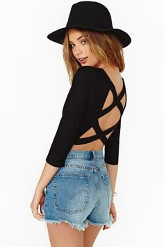 Double Cross Crop Top in Black