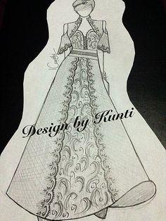 Kebaya modern Dress Illustration, Fashion Illustration Sketches, Fashion Sketches, Illustrations, Indian Bridal Outfits, Fashion Design Drawings, Kebaya, Fashion Games, Everyday Look
